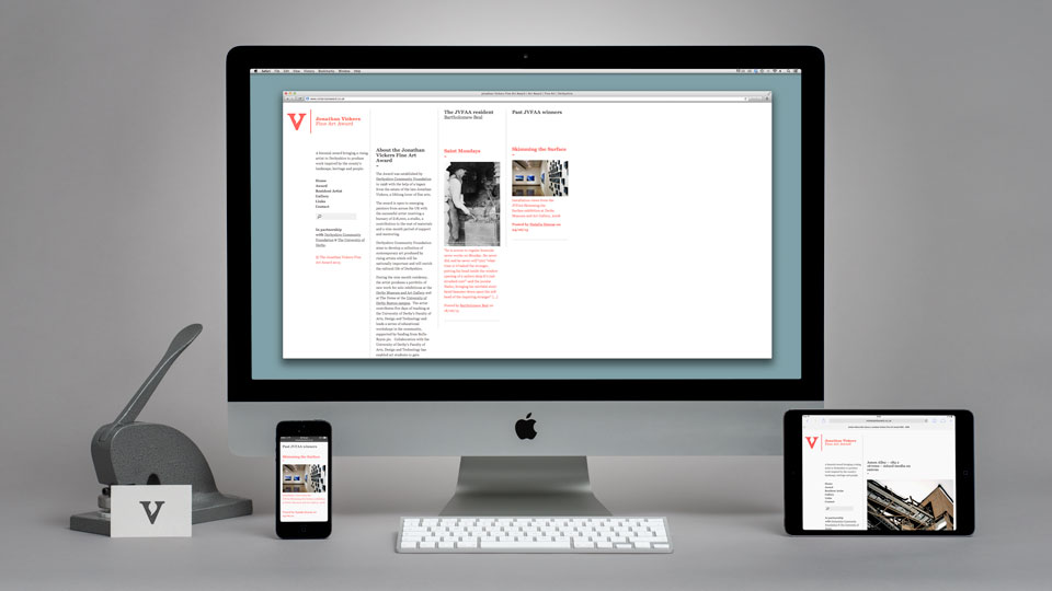 Web Design for the Vickers Fine Art Award